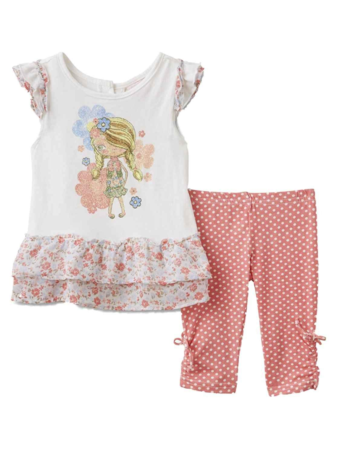 33faeb02aca9 Get Quotations · Nannette Infant Girls Floral Baby Outfit Fancy Girl Shirt    Polka Dot Leggings Set