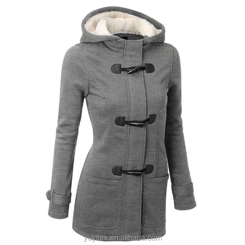 Womens Plus Size Fall Winter Horn Button Outwear Warm Hoodie Classic Pea Coat Jacket