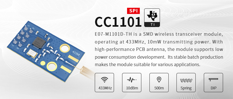 500m low power consumption wireless module 10dBm 10mW 433mhz wireless rf module cc1101