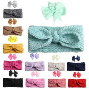 Bib hair band bow hairpin combo new explosion dual-use children's rabbit ears wool baby bib hair band