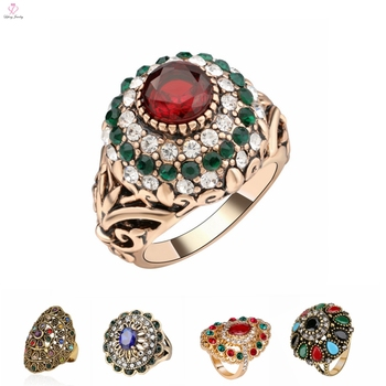 India Classic Ruby Resin Gold Kundan Ring Designs Vintage Ancient