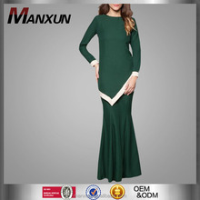 Islamic Modern Wear Lady Dress Malaysia Latest Abaya Fashion Green Baju Kurung Wholesale