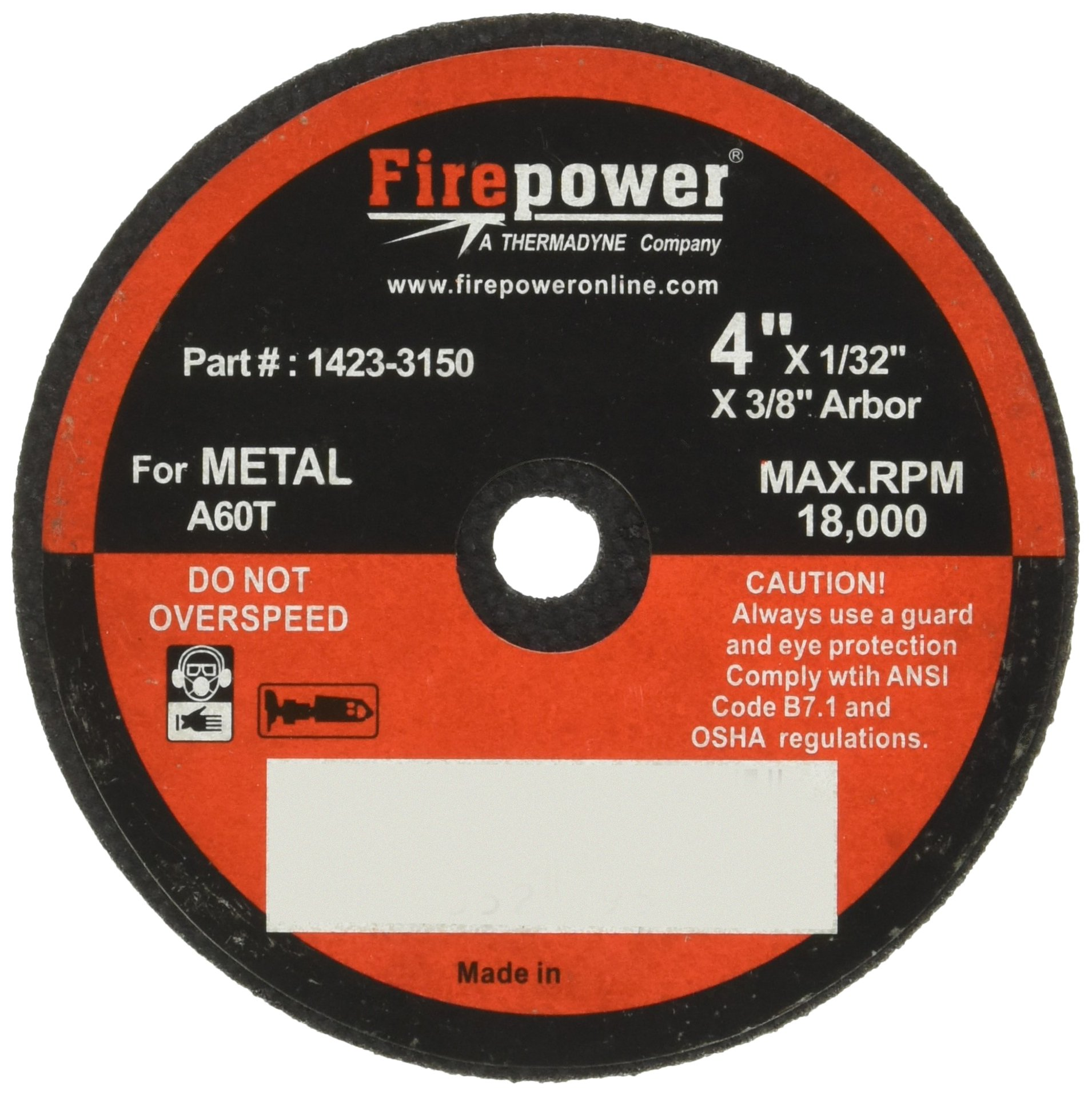 Firepower 1423-3182 Type 1 Abrasive Cut-Off Wheel for Metal, 4-Inch Diameter, 1/32-Inch Width with 3/8-Inch Hole, 5-Pack