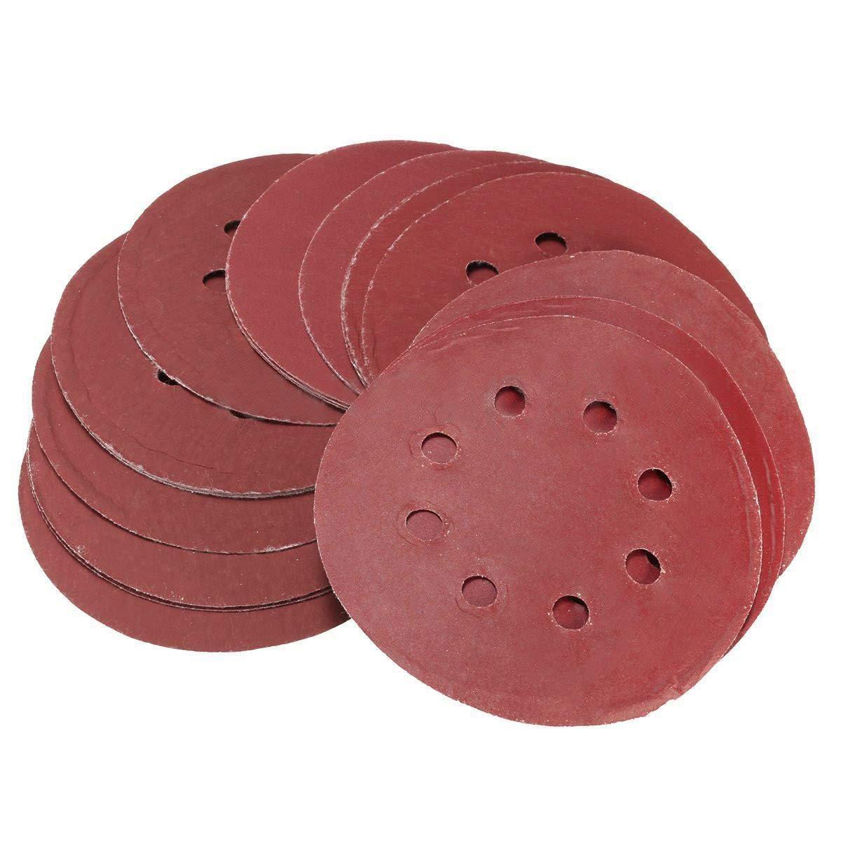 SODIAL(R) 25pcs 5 Inch Sanding Discs 125mm 8 Hole Sandpaper 800 1000 1200 1500 2000 Grit