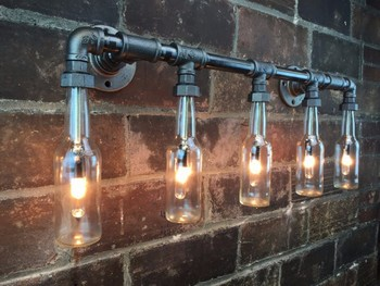 6.27 27 Industrial Vanity Light   Bottle Chandelier   Steampunk Furniture    Edison Lamp