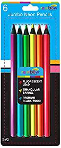 Promarx Rainbow Jumbo Size Fluorescent Colored Pencils, Box Contains 12 Packs of 6 Assorted Neon Colors Per Pack