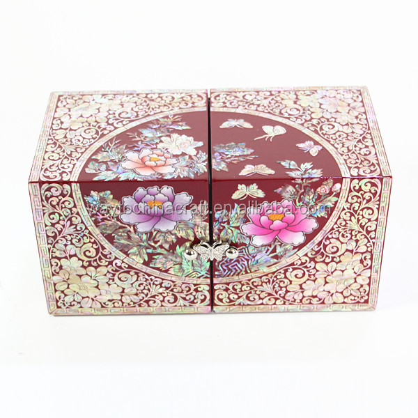 High end mother of pearl cosmetic box luxury custom jewelry box