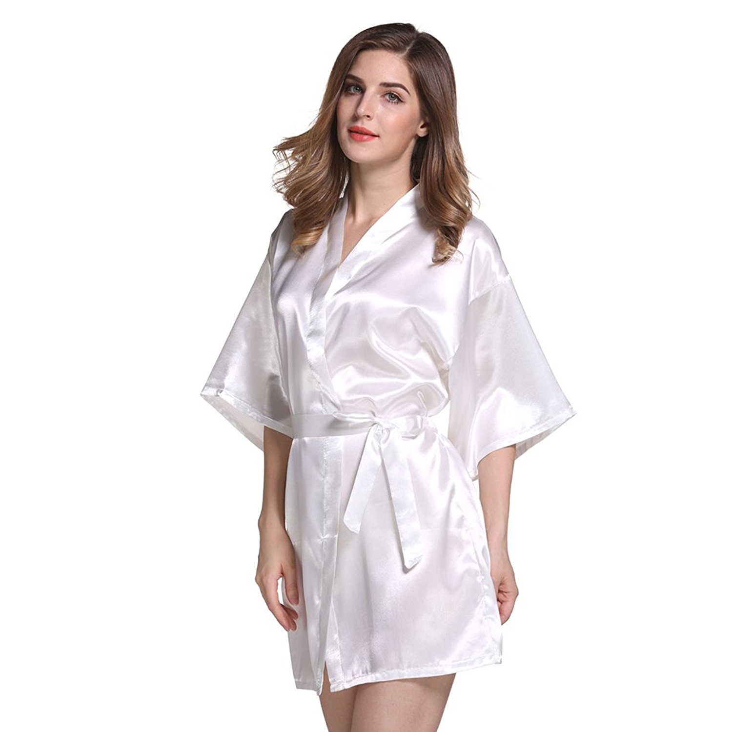 a2646f821c Get Quotations · Amurleopard Womens Kimono Robe Knee Length Bridal Lingerie  Sleepwear Pure Colour Short Satin Robe White M