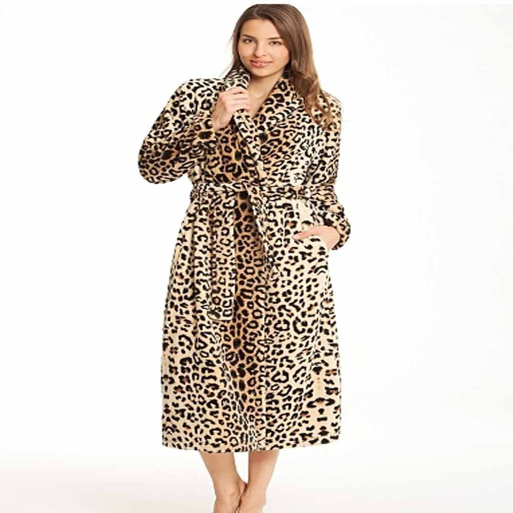 100% polyester coral fleece Leopard print long bathrobe for women Ladies  night Robe 9f83036ec5