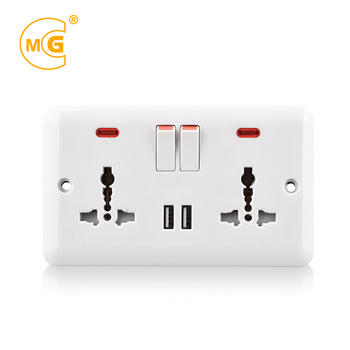 USB Dual universal power 2 gang multi functional socket receptacle 13A outlet twin USB wall plate socket with neon