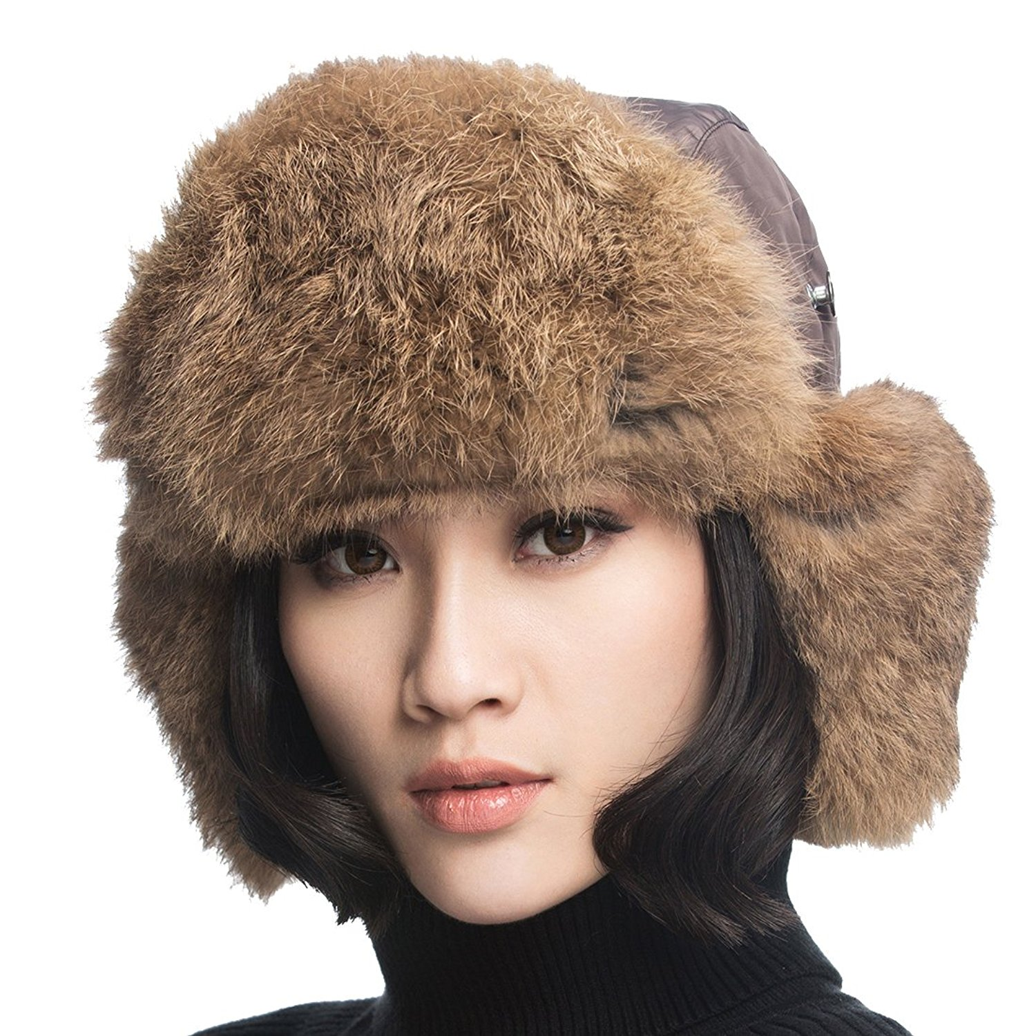 3ef284e3c030f Get Quotations · URSFUR Unisex Aviator Hat Winter Russian Trooper Cap with  Brown Rabbit Fur