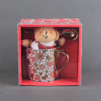 High Quality Gift Package Bone China Mug Ceramic Coffee/Tea Cup with Spoon for Wholesale