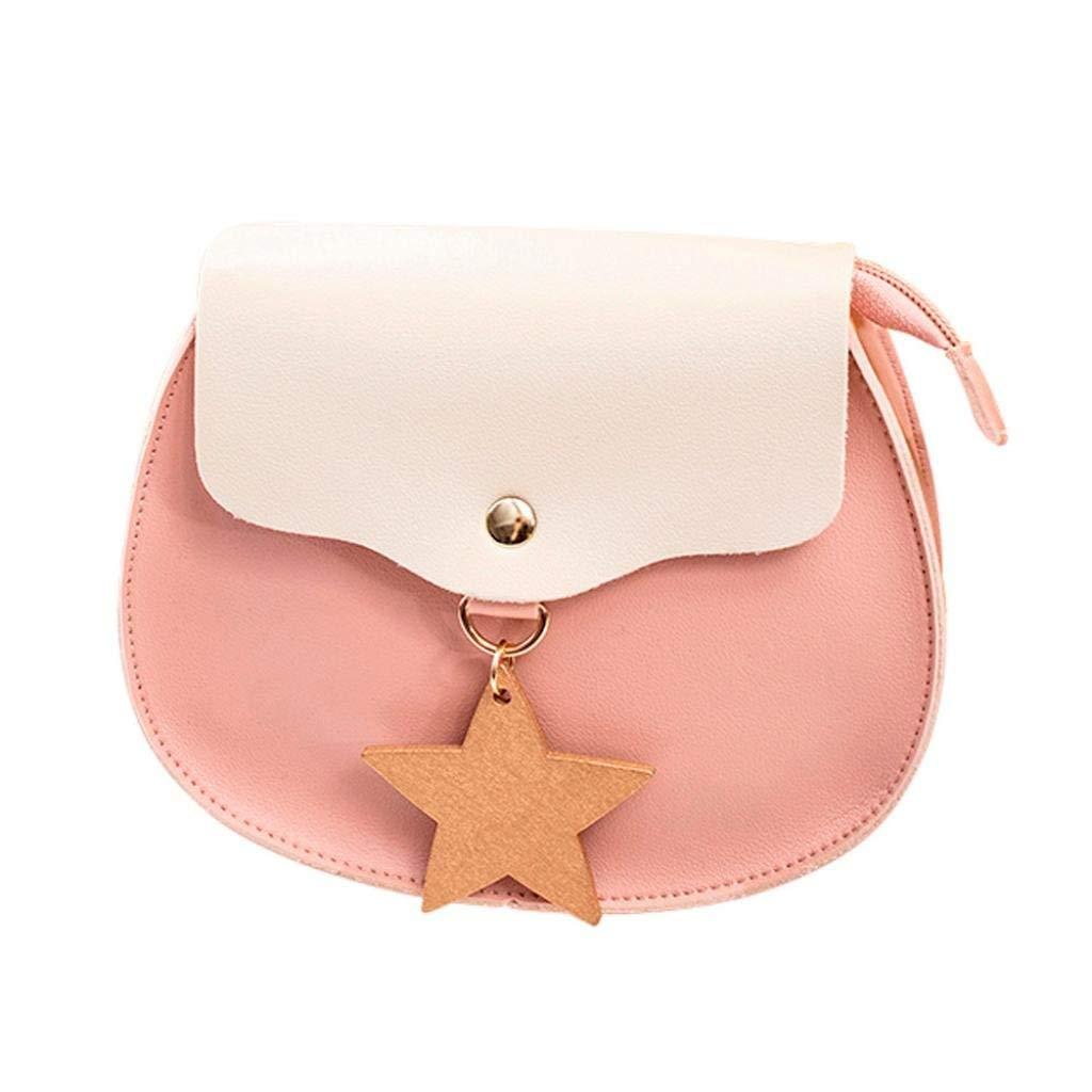 PU Leather Women Shoulder Bag Hit Color Messenger Satchel Tote Crossbody Bag Phone Bag Purse (Pink)