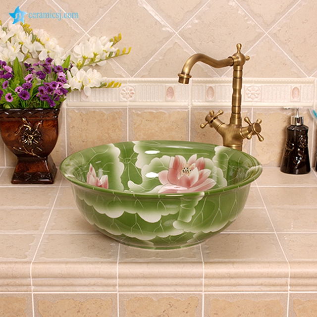 YL-M_4240 Factory direct sale low price green bathroom wash hand basin
