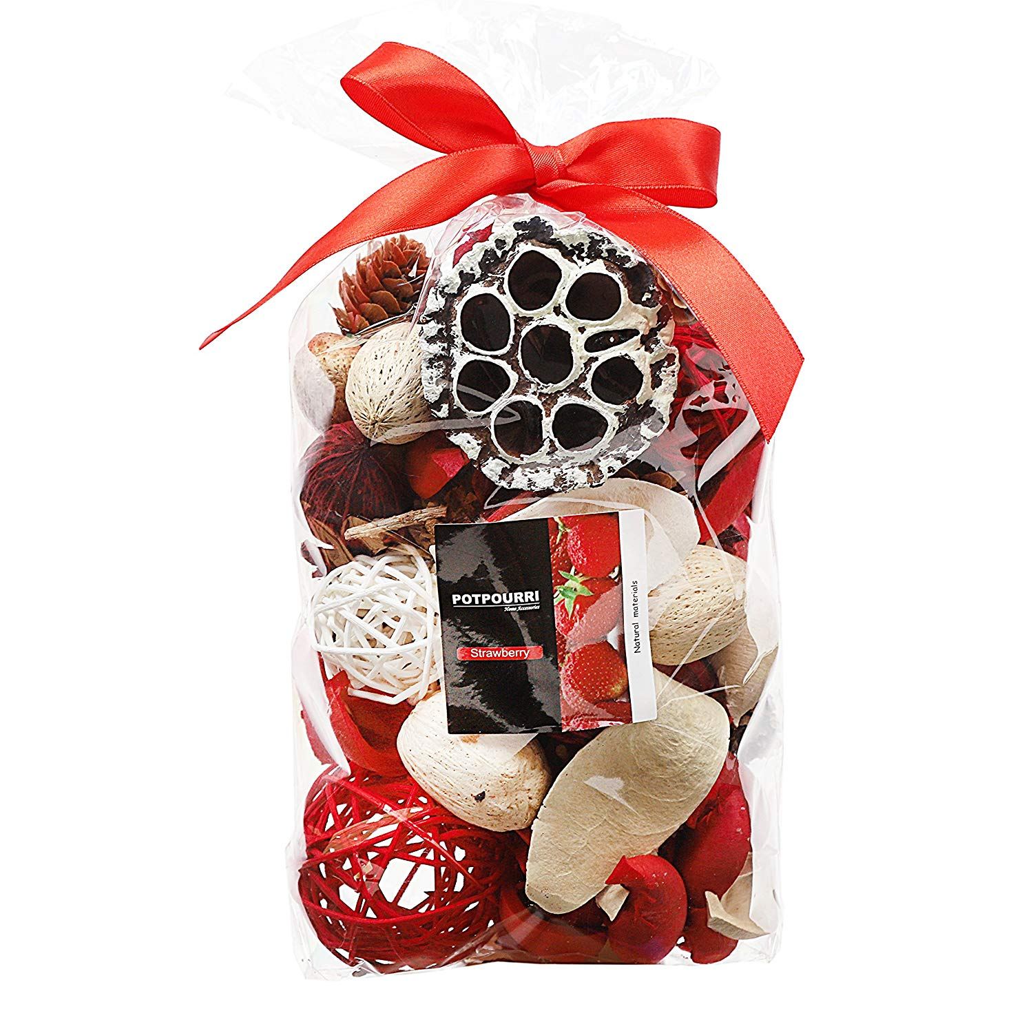 Qingbei Rina Red Strawbarry Scent Summer Potpourri Dried Flowers,Perfume Sachet, Decorative Bag and Gift - Rattan Balls,Lotus Pods, Pine Cones,Dried Plants And Flowers 9.9OZ