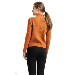 Autumn design women semi-high collar knit cashmere solid color loose thin long-sleeved sweater