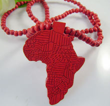Hip Hop Wood Africa Map Pendant with 36 Inches Wood Beaded Chain