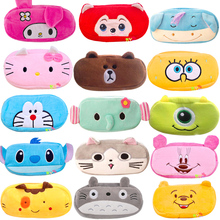 1 PCS Cute Cartoon Plush Pencil Case Kawaii Large Size School Kids Pencil Box Animal Stationery Fashion Makeup Bag free shipping