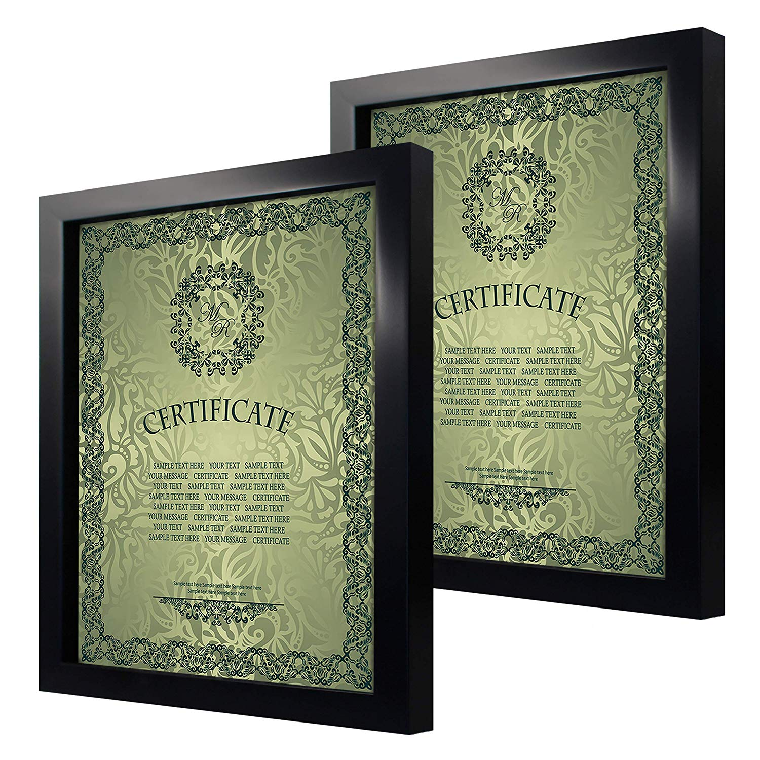 8.5x11 inch Black Picture Document Frame Made to Display Pictures or Certificate 8.5x11 Without Mat 2 Pack One Set for Wall & Tabletop Chirstmas Holiday Home Gift
