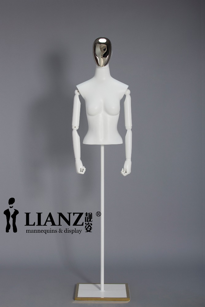 Hanging adjustable woman dress form mannequin with wooden arm