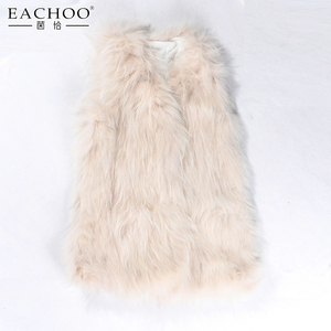 2018 Fasctory soft and warm real fox fur knitting slessless vest