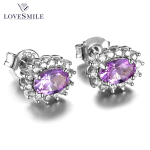 New arrival natural 925 sterling silver stud amethyst earring for wedding