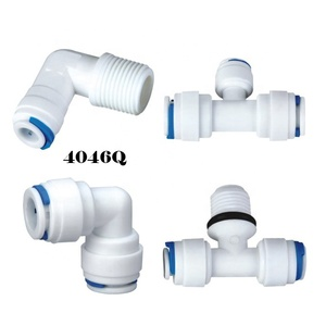 Tee and Elbow Quick Coupling Release Fitting for RO Water Filter Spare Parts