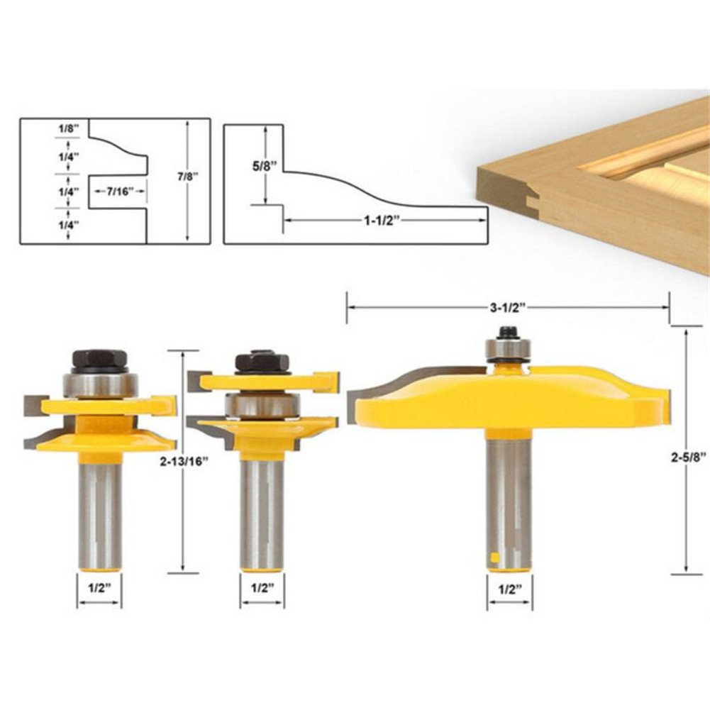 3 Pcs/set Tongue & Groove Edge Molding Router Bit Set, 1/2'' Shank T-shape Ogee Rail & Stile Router Bit, Cove Raised Panel Tools Kit Grooving Router Bits Woodworking Chisel Cutter Woodwording Tool