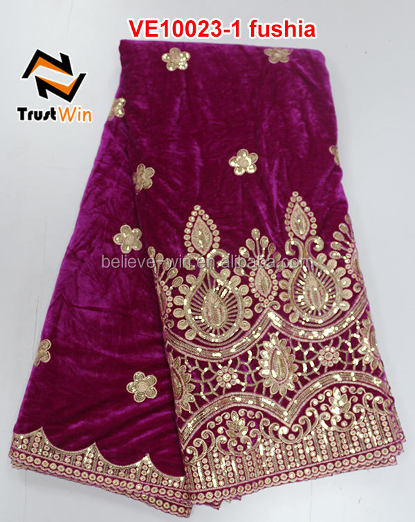 Wholesale price velvet lace fabric of VE10023 purple