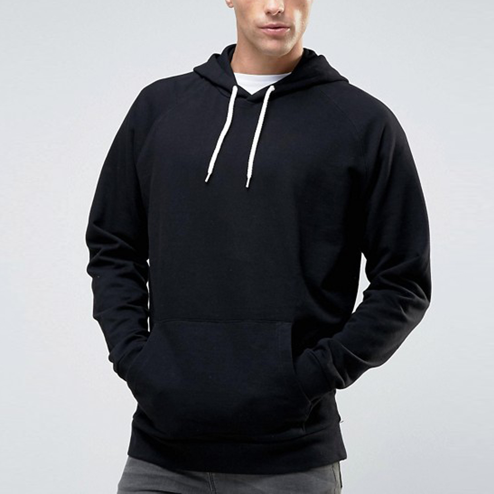 Raglan Sleeve Wholesale Pullover <strong>Mens</strong> Hoodies 300g 100% Cotton Plain <strong>Black</strong> <strong>Hoodie</strong>