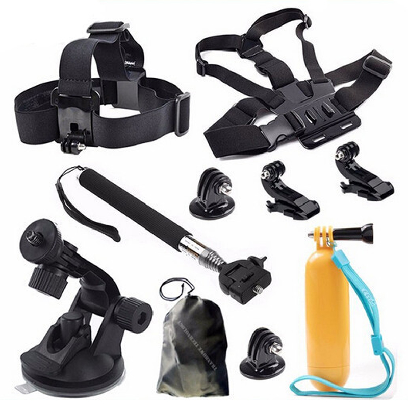 Free Shipping!! Accessories Set 11 In 1 Monopod / Chest Strap/Tripod For Gopro