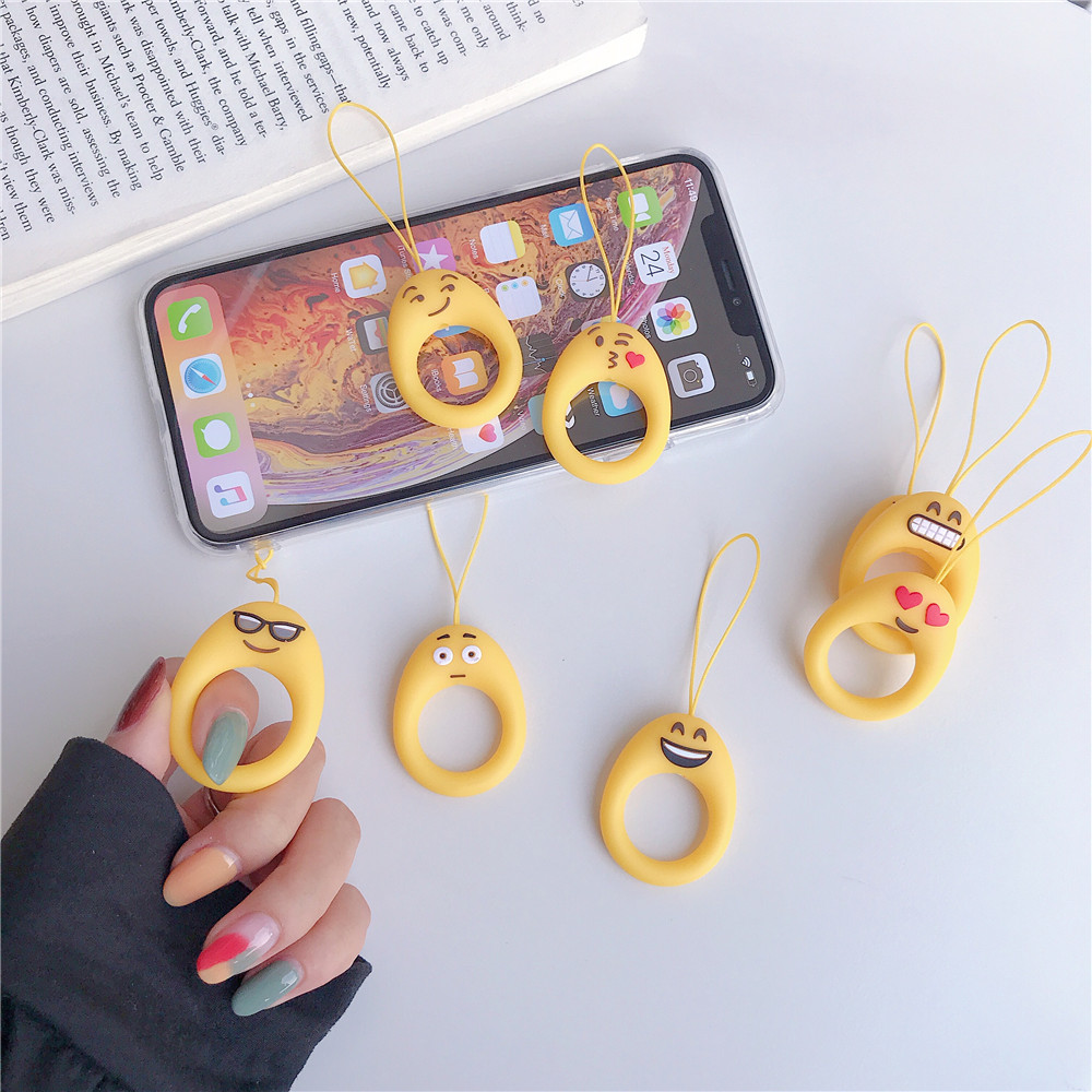2019 Emoji cartoon mobile phone lanyard phone case accessories cute soft plastic drop-proof phone hand ring strap