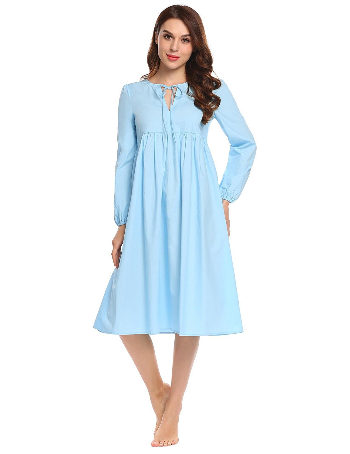 4cd0dff92d9 Dicesnow Women s Nightdress Long Sleeve Vintage Nightgown Victorian  Sleepwear Lounge Dress