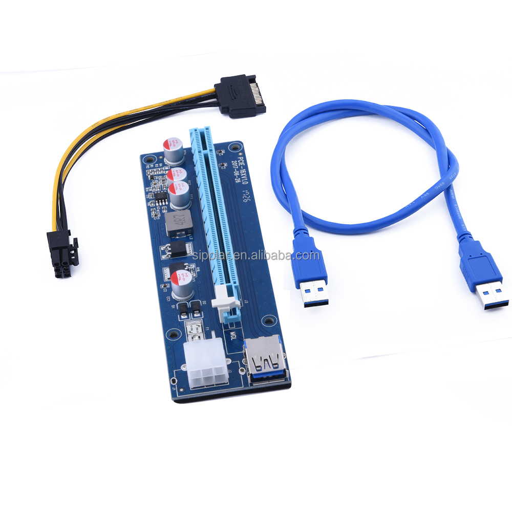 PCI -E 1x to 16x PCI Express Extender PCIE Riser Card USB 3.0 PCI-e Extension Adapter with SATA 15pin to 6pin power cable