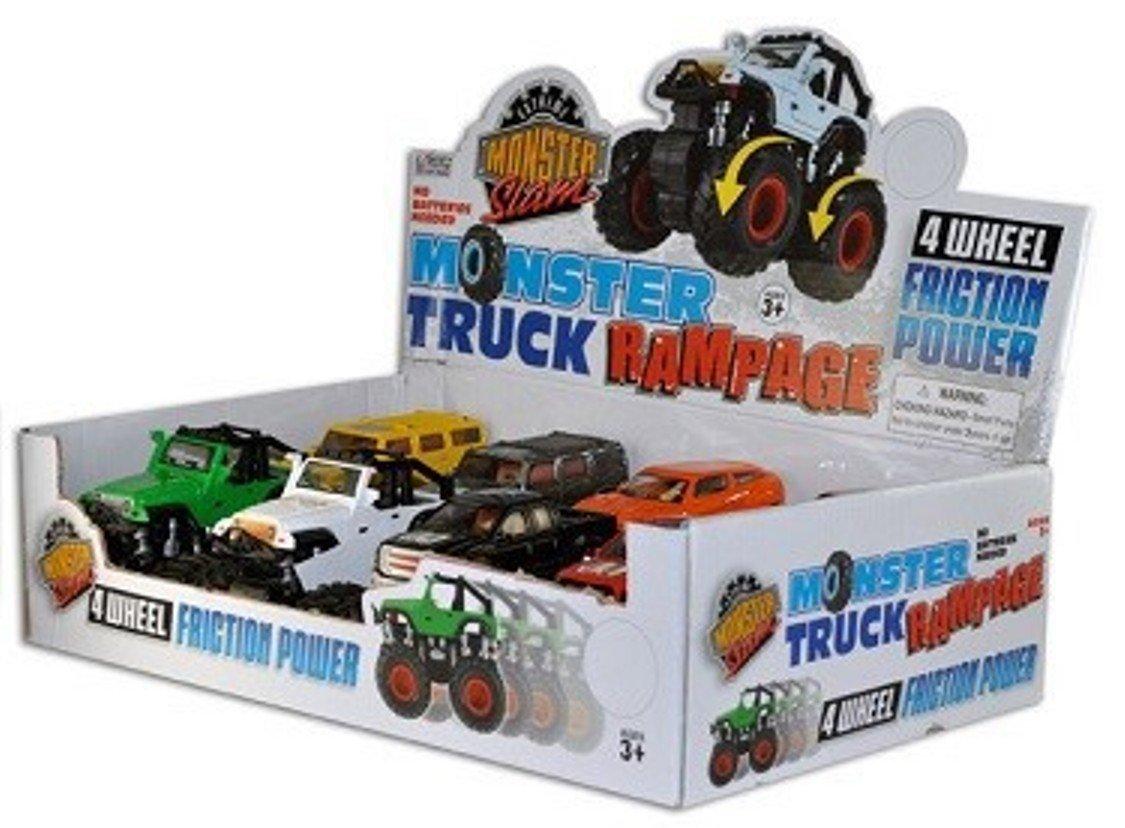 Monster Truck Rampage 4x4 Friction Power Extreme Monster Slam 4 Wheel Drive Monster Trucks No Batteries Needed Set Of 8