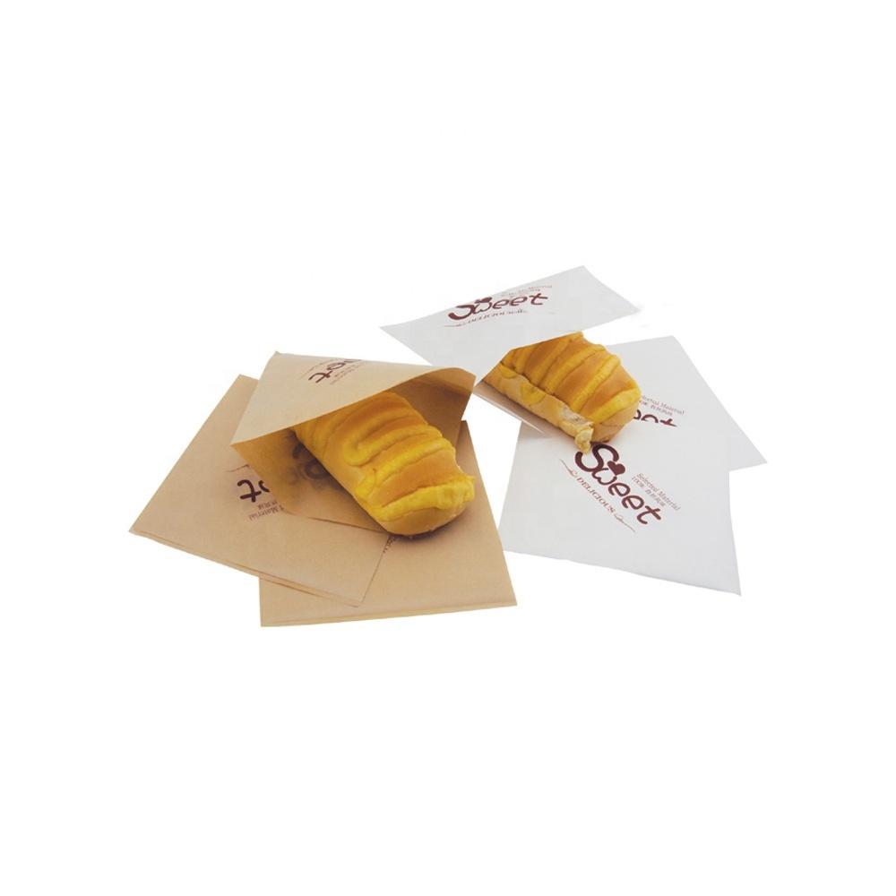 カスタム Gsm 印刷クラフトブラウンベーカリー食品グレード耐油紙バッグ