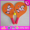 2015 Happiness play cheap wooden beach racket with tennis ball,Summer Custom Wooden Beach Racket with Mesh Bag and Ball W01A114