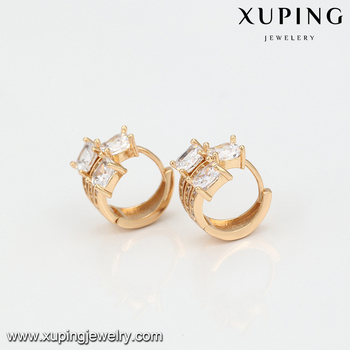 94730 Mens Earring Tanishq Diamond Jewelry Simple Shape Gold Plated Women Hoop Earrings