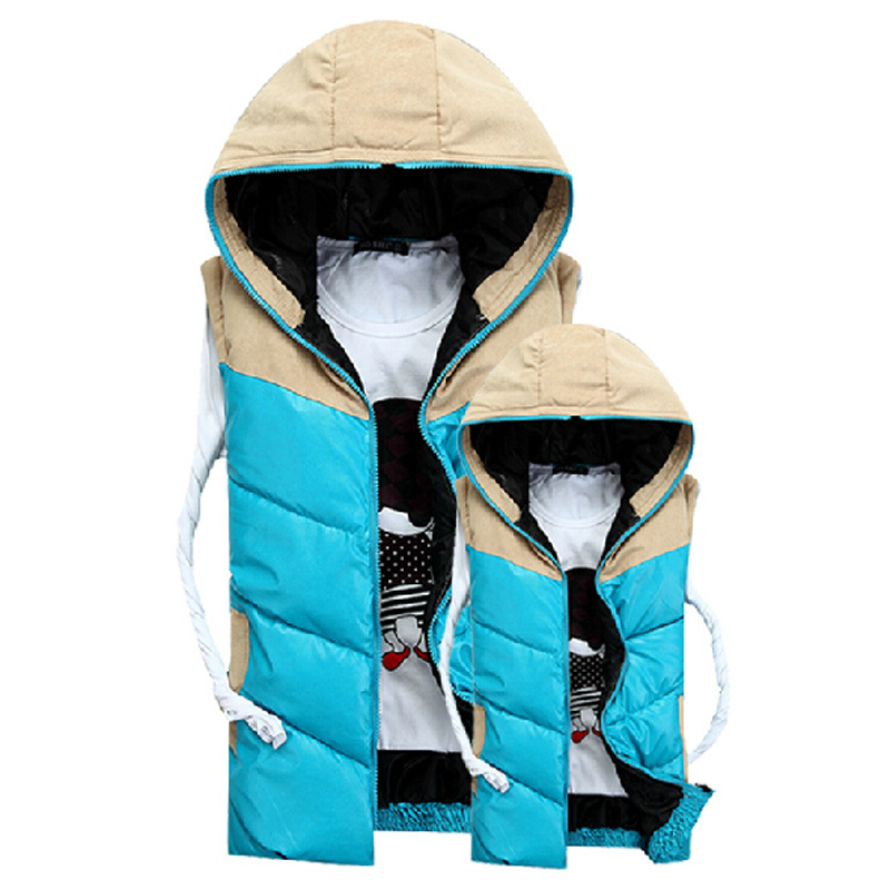 2015 Autumn Winter Vest Coat Men Korean Lovers Clothes Cotton Padded Sleeveless Hit Color Patchwork Vest Coat Hooded Jacket