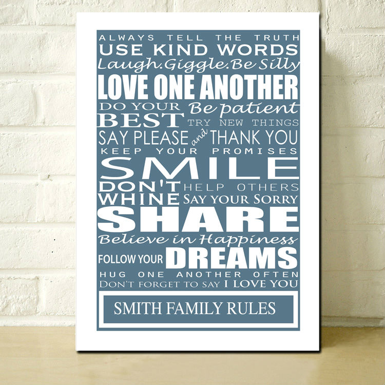 Personalised Family Rules Print Stretched Canvas