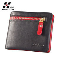 2014 Most popular leather men wallet, zipper coin pocket ID/ driving licence pocket design New purse retail and wholesale