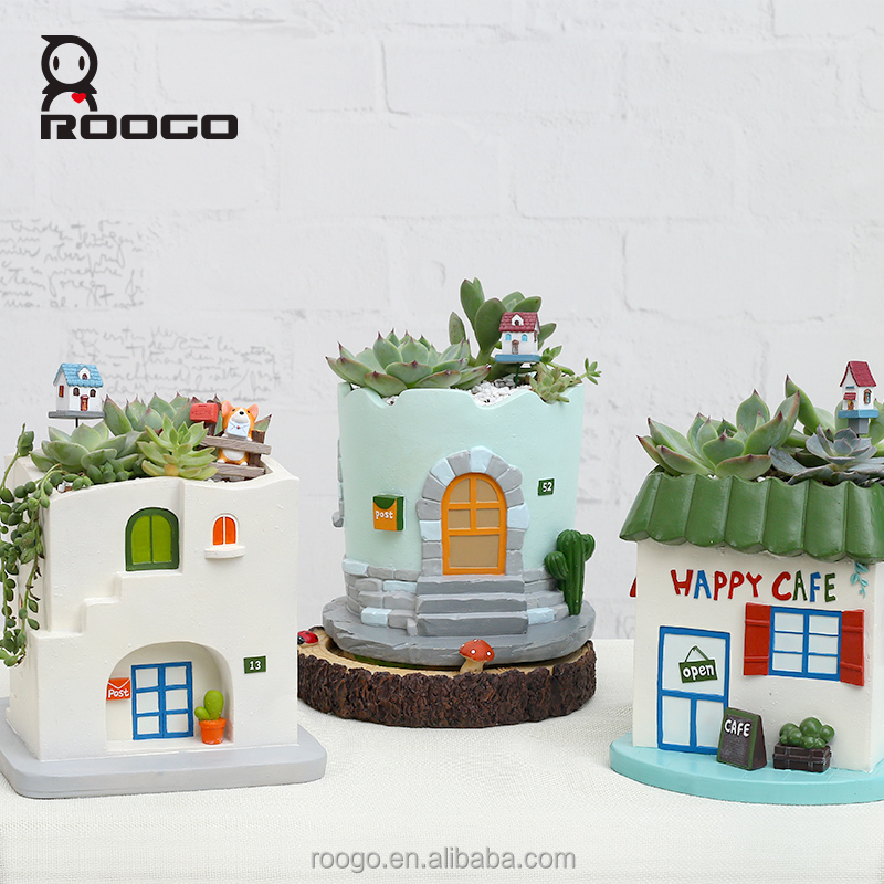 Roogo resin round house building christmas decoration orchid plants flower pots