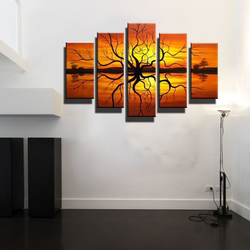5 piece canvas wall art large abstract modern orange african tree artwork canvas art wall deco. Black Bedroom Furniture Sets. Home Design Ideas