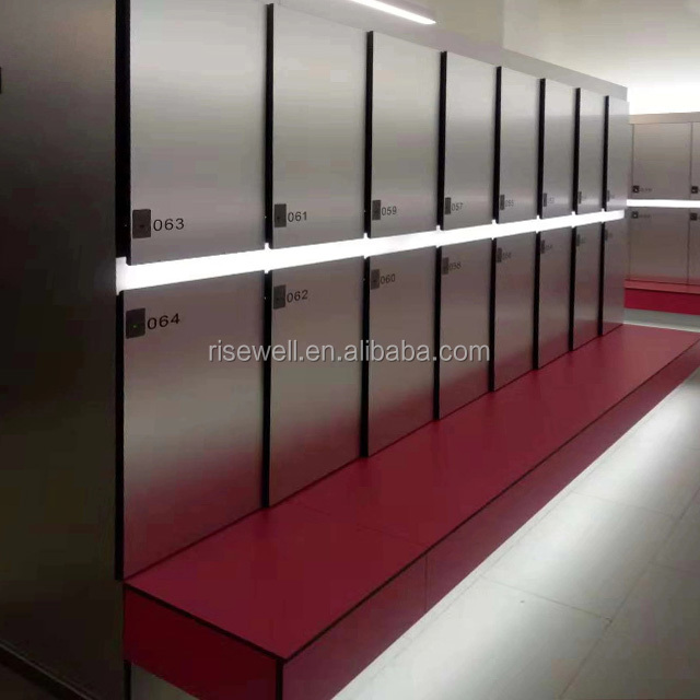 Debo phenolic core 3 tiers compact laminate HPL waterproof gym lockers