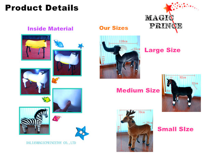 Dalian Amusement plush horse ride-on horse toys/Durabe Animals scooter ride on toy horse/Magicprince (EN71&SGS&HI&CE)~(Pass!!)~