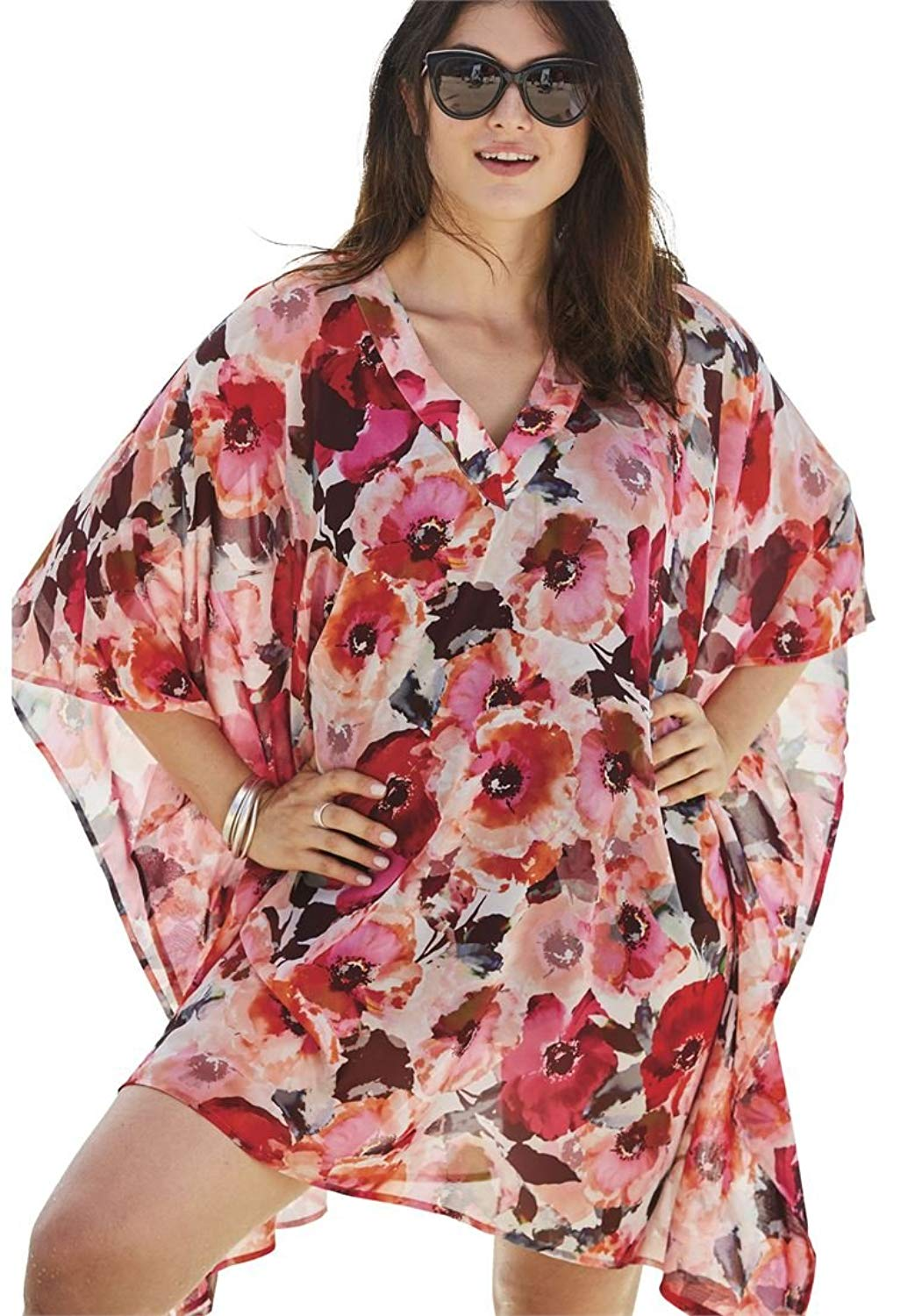38279ca95f Get Quotations · Jessica London Women's Plus Size Caftan Beach Cover up
