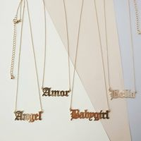 Inspire jewelry Old English Font personalised wholesale custom letter word for women and girls initial silver Name logo Necklace
