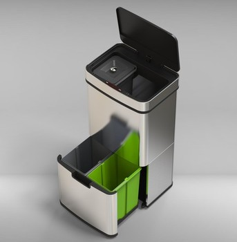 Rectangle sensor dustbinRectangle sensor dustbin Induction and pedals Automatic dustbin/35L+25L office smart dustbin