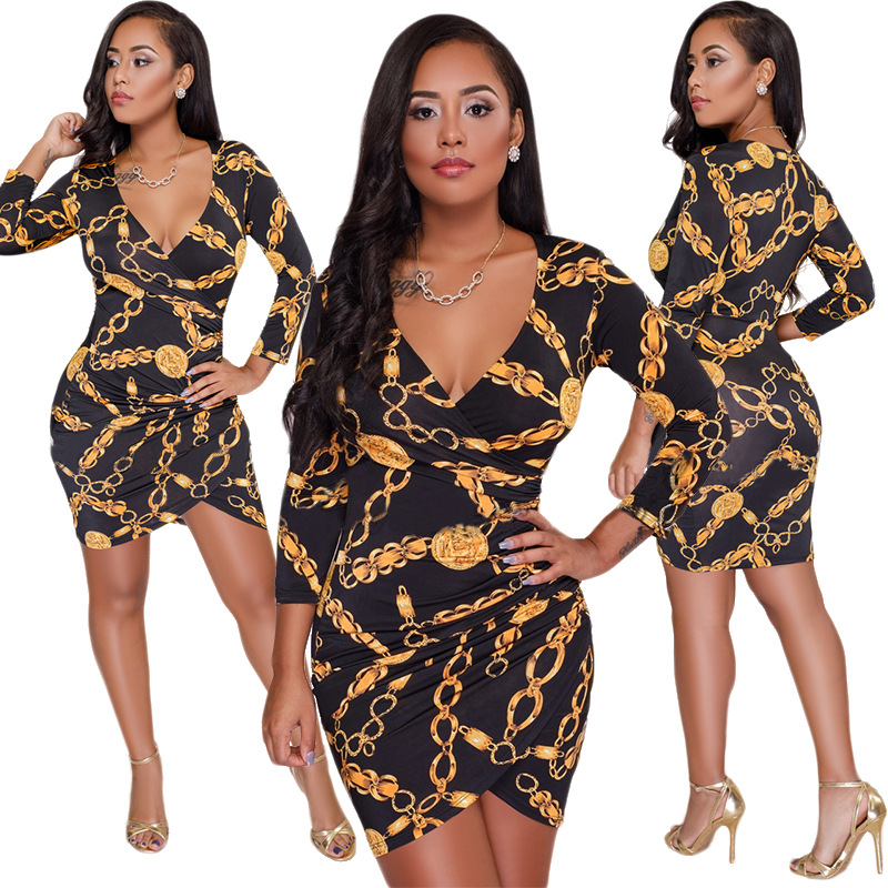 Victoria baroque golden floral gothic v neck curve dress evening mini dress