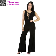 Bodycon losse benen mouwloze Lace Up vrouwen plus size zwarte jumpsuit L55291